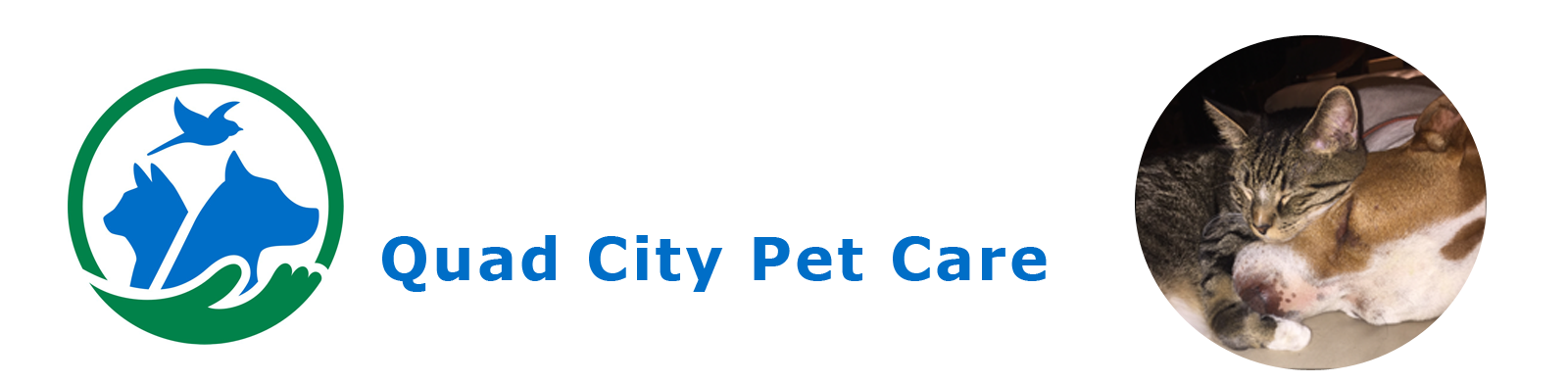 Banner graphic with a photo of a cute puppy, the QC Pet Care logo that shows a hand holding a dog, cat, and bird, and text that says Quad City Pet Care